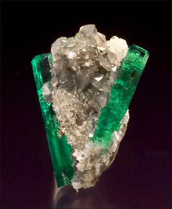 Emerald on calcite thumbnail Muzo Colombia