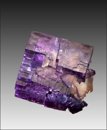 purple fluorite with yellow core and calcite thumbnail Denton mine Illinois